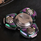 Rainbow Alloy 6-8 Mins EDC Hand Fidgat Spinner Tri Triangle Gyro Focus Toy Gift