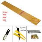 """12pc sp500 32"""" bamboo pattern carbon arrows 5"""" feather pin nocks id6.2mm od7.6mm"""