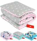 MINKY BLANKET & PILLOW SET / XL /PRAM /PLAYMAT/ REVERSIBLE / FILLED -100x75cm
