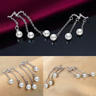 Women Korean Tassel Pearl Rhinestone Ear Studs Drop Dangle Earrings Jewelry