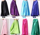 US Lady Shining Satin Long Skirt Swing Skirt Belly Dance Skirt dress Costumes