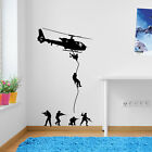 Helicopters Army Men Parachute Soldiers Military Wall Stickers Decal Kids A40