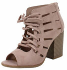 Soda Women's Peep Toe Lace Up Cutout Perforated Stacked Bloc