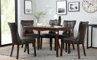 Clarendon & Bewley Dark Wood Dining Table and 4 6 Chairs Set (Dark Brown)