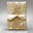 Personalised Intricate Wedding Invitations Laces Laser Cut Gold Floral Free P*P