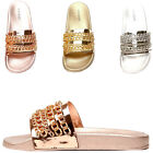 Womens Metallic Chain Link Open Toe Slide Slip On Flat Sandal Flip Flops Slipper