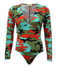 Ladies Womens Long Sleeve V Neck Multi  Army Camouflage Bodysuit Leotard Top