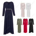 Womens Ladies Long Plain Low Neck Diamate Summer Abaya Modest Casual Dress Outdo