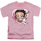 Betty Boop Heart Kiss Dog Pudgy Juvenile Pink T-Shirt - (Juvy Size 4) $12.98 USD