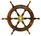 Ship Wheel 18 Inch Pirate Boat Nautical Fishing Wood and Brass Nautical Decor