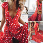 Us Boho Long Maxi Dress Women Summer Evening Party Cocktail Beach Split Sundress