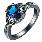 Exquis 14KT Black Gold Filled Blue Zircon Rings Bridal Party Jeweiry Size 6-9