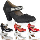86O GIRLS DIAMANTE STRAP KIDS BLOCK HEEL MARY JANE COURT PARTY SHOES SIZE 10-2