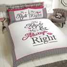 Mr Right & Mrs Always Right Duvet/Quilt Cover With Pillow Cases