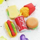 5 PCS Children Fast Food Style Rubber Pencil Eraser Students Stationery Toy