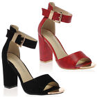 28M WOMENS PEEP TOE LADIES HIGH BLOCK HEEL BUCKLED ANKLE STRAP SHOES SIZE 3-8