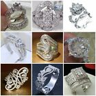 Fashion 925 Sterling Silver White Topaz Wedding Ring Women Men's Jewelry Sz 6-10
