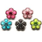 Flower Shaped Resin Rhinestone Snaps Buttons Charms Fit 18mm Snap Jewelry i