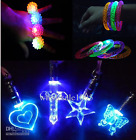 party bag filler flashing light up necklace, ring and bracelet x 6 or x 12 sets