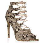 New Womens Lace Up Ladies Peep Toe Boots High Heel Sandals in Beige Snake UK 3-8