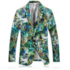 Mens Slim Green Floral Blazers Lapel One Button Casual Coats Jacket Outwear Club
