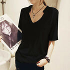 Women short sleeve raglan black tee t-shirt cotton casual top new