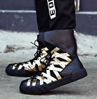 Mens Ankle Boots High Top Sneakers Casual Leather Skateboard Shoes Sport