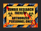 Zombie Research Bedroom Door Plaque Wall Signs Man Cave Fun Room Signs 3 Options