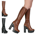 27B WOMENS CLEATED PLATFORM LADIES ELASTIC CALF HIGH HEEL BOOTS SHOES SIZE 3-8