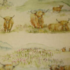 Voyage Highland Cattle Designer Curtain Fabric 140 cm wide - £29.50mt