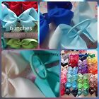 "Girls 6"" inch hair bows pony band bobbles ponio ribbon 40 colours school dance"