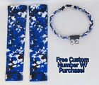 Sports Compression Arm Sleeves BLU BLK WHT Digital Camo & Rope Necklace W/ #