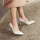 Womens Rivet Stilettos High Heels Pointy Toe Pumps Pull on Party OL Shoes 4-11.5