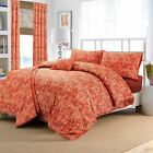 Hotel Quality English Elizabeth Damask Pattern Duvet Floral Red Gold Cover Set