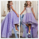 Sweet Purple Lace High Low Flower Girl Dress First Communion Pageant Gown Custom