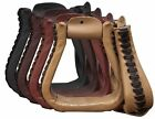 """5 1/2"""" Wide Showman Leather Covered Western Stirrups"""