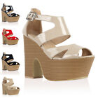 94J WOMENS BUCKLE STRAPPY LADIES ZIP UP PEEP TOE BLOCK WEDGE HEEL SHOES SIZE 3-8