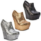 56F WOMENS SHIMMER SEQUINED WEDGE HEEL LADIES ANKLE BOOT PARTY SHOES SIZE 3-8 UK