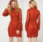Bell Sleeve Rust Orange Red Lace Shirt Mini Dress Long Sleeves Ex-Branded 8-14