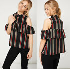 Black Cold Shoulder Loose Top with Red White Vertical Stripe & Frill Sz 8-14