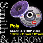 """10 x 115mm 4.5"""" POLY STRIP DISC WHEEL PAINT RUST REMOVAL CLEAN ANGLE GRINDER PAD"""
