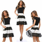 Cocktail Party Evening Sleeveless Stripe Mini Dress  Women Casual Summer P6037