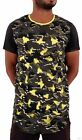 Time Is Money Mens Boys Army Camouflage Star Long Hip Hop Tee Shirts Club DYelow
