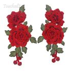 Embroidered Sew On Clothes Patches Rose Flower Applique Badge Floral Patch Trims
