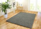 SMALL - EXTRA LARGE MID-GREY / SILVER THICK SOFT SHAGGY NON-SHED MODERN RUG MAT