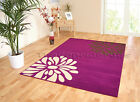 MED - EXTRA LARGE PURPLE NEXT TO BROWN CREAM FLOWER PETAL NON-SHED MODERN RUG