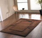 Small-Large Thick Chunky Wool Chocolate Brown Bordered Rug. Clearance Ltd Stock