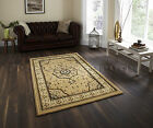 SMALL - EXTRA LARGE BEIGE TRADITIONAL CLASSIC THICK DENSE LUXURY WOOL-LOOK RUGS