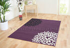 SMALL - EXTRA LARGE AUBERGINE PURPLE BLOOM FLOWER MODERN FUNKY CHEAP SOFT RUG
