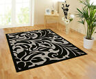 SMALL - LARGE BLACK GREY WARWICK DAMASK PATTERNED MODERN TRENDY RUG